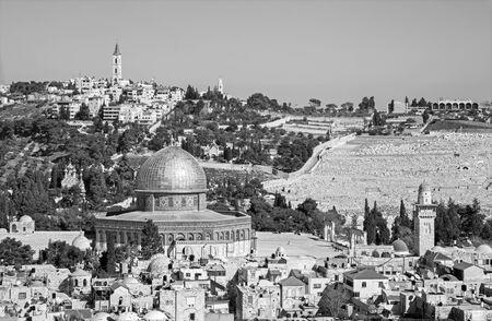 dom: Jérusalem - Perspectives sur la vieille ville de Dom of Rock et le mont des Oliviers.