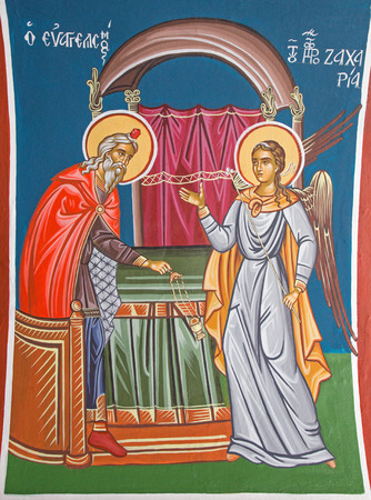 angel gabriel: JERUSALEM, ISRAEL - MARCH 5 , 2015: The fresco the Angel Gabriel Appearing to Zecheriah in the temple in Greek orthodox Church of st. John the Baptist in Christian quarter.