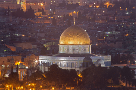 Jerusalem - Outlook from Mount of Olives to Dome of Rock at dusk. photo