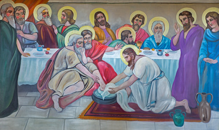 BETHLEHEM, ISRAEL - MARCH 6, 2015: The modern fresco of Feet washing at the last supper from 20.cent. in Syrian orthodox church by artist K. Veniadis (1987). 報道画像