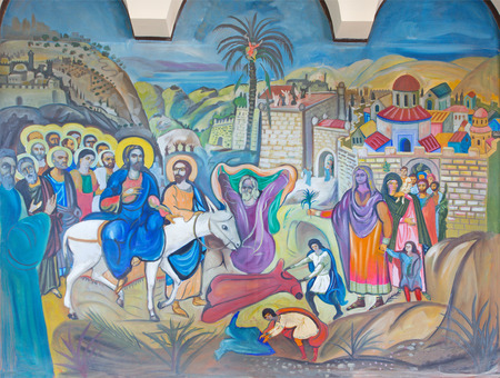 BETHLEHEM, ISRAEL - MARCH 6, 2015: The modern fresco of Palm Sunday from 20.cent. in Syrian orthodox church by artist K. Veniadis (1987).