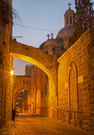 flagellation: Jerusalem - Via Dolororosa at dusk with the Flagellation chapel in the background.