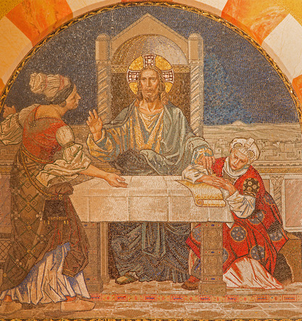 martha: JERUSALEM, ISRAEL - MARCH 3, 2015: Jesus withe Martha and Mary. Mosaic on the chorus of Evangelical Lutheran Church of Ascension designed by H. Schaper and F. Pfannschmidt (1988-1991).