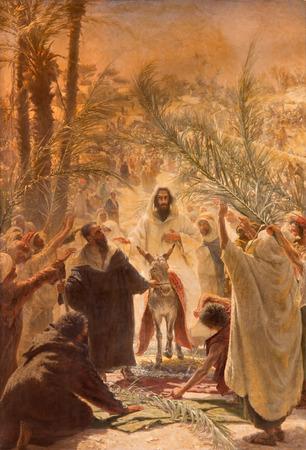 burro: JERUSALÉN, ISRAEL - 03 de marzo 2015: La pintura de la entrada de Jesús en Jerusalén (Palm Sandy). Pintura en la Iglesia Evangélica Luterana de la Ascensión de Felix Tafsart (1896).