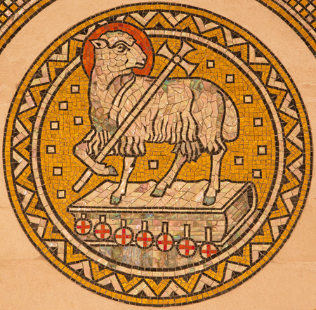 lamb of god: JERUSALEM, ISRAEL - MARCH 3, 2015: The lamb of God.  Mosiaic on the side altar of Evangelical Lutheran Church of Ascension designed by H. Schaper and F. Pfannschmidt (1988-1991).