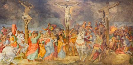 chiesa: ROME, ITALY - MARCH 25, 2015: The Crucifixion fresco in church Chiesa San Marcello al Corso by G. B. Ricci (1613). Editorial
