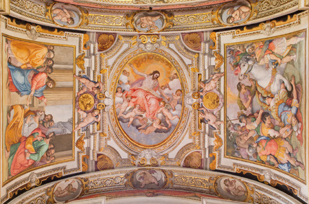 apostle paul: ROME, ITALY - MARCH 26, 2015: The ceiling fresco by G. B. Ricci frokm 16. cent. in church Chiesa di Santa Maria in Transpontina and chapel of st. Peter and Paul with the Ascension as central motive. Editorial