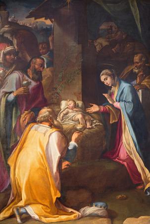 nebbia: ROME, ITALY - MARCH 26, 2015: The paint of Three Magi in church Chiesa Nuova (Santa Maria in Vallicella) by Cesare Nebbia (1534 - 1614).