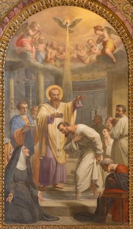 bautismo: ROMA, Italia - 27 de marzo 2015: El Bautismo de st. Agust�n ad st. Ambrose fresco en la Bas�lica de Sant Agostino (Agust�n) de Giovanni Battista Speranza de 18. ciento. Editorial