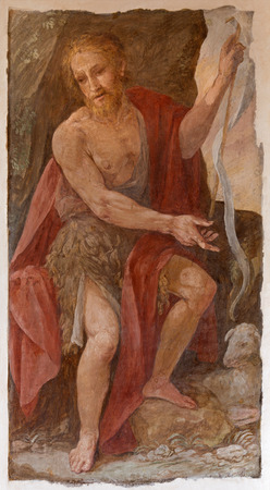 baptist: ROME, ITALY - MARCH 27, 2015: The fresco of St. John the Baptist by A. Nucci (1587 - 1588) by in Basilica di Sant Agostino (Augustine).