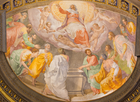 anima: ROME, ITALY - MARCH 27, 2015: The Assumption of Virgin Mary fresco in church Santa Maria dell Anima by Francesco Salviati from 16. cent.