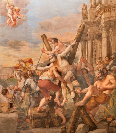 andrew: ROME, ITALY - MARCH 27, 2015: The Crucifixion of st. Andrew the apostle in church Basilica di Sant Andrea della Valle by Mattia Preti (1613 - 1699) Editorial