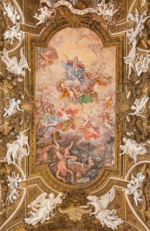 overthrow: ROME, ITALY - MARCH 24, 2015: The ceiling fresco Triumph of Virgin and overthrow of protestants by Giovanni Domenico Cerrini (1675) in church Chiesa di Santa Maria della Vittoria. Editorial