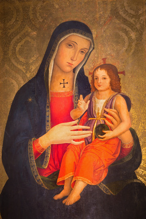 mary mother of jesus: ROME, ITALY - MARCH 25, 2015: The Madonna by Antoniazzo Romano (late 15. cent.)  in church Basilica dei Santi XII Apostoli. Editorial