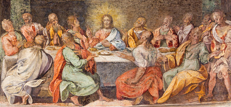 ROME, ITALY - MARCH 25, 2015: The Last supper. Fresco in church Santo Spirito in Sassia by unknown artist of 16. cent. Editöryel