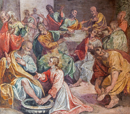 feet washing: ROME, ITALY - MARCH 25, 2015: The feet washing scene of Last supper. Fresco in church Santo Spirito in Sassia by unknown artist of 16. cent. Editorial