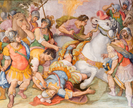 apostle paul: ROME, ITALY - MARCH 26, 2015: The conversion of st. Paul freso by G. B. Ricci from 16. cent. in church Chiesa di Santa Maria in Transpontina and chapel of st. Peter and Paul.