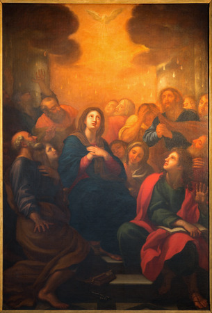 pentecost: ROME, ITALY - MARCH 26, 2015: The Pentecost painting by G. Maria Morandi (1622 - 1717) in church Chiesa Nuova.