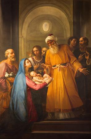 ROME, ITALY - MARCH 26, 2015: The Presentation in the Temeple paint in church Chiesa Nuova (Santa Maria in Vallicella).