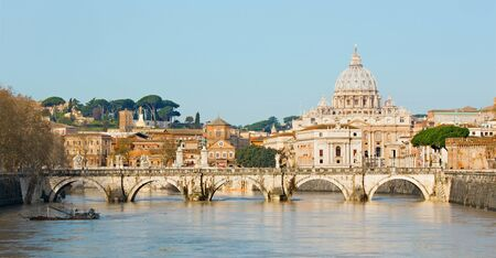 st  peter s  basilica: Rome - Angels bridge and St. Peter s basilica in morning Editorial