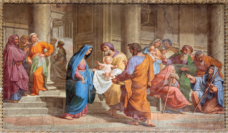 ROME, ITALY - MARCH 27, 2015: The Presentation in the Temple fresco in Basilica di Sant Agostino (Augustine) by  Pietro Gagliardi form 19. cent. Redactioneel
