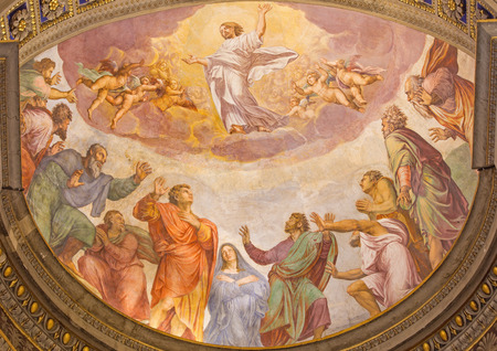 anima: ROME, ITALY - MARCH 27, 2015: The Ascension of the Lord fresco in church Santa Maria dell Anima by Francesco Salviati from 16. cent.