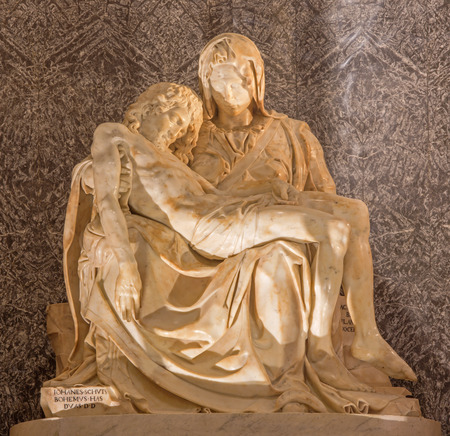 anima: ROME, ITALY - MARCH 27, 2015: The statue of Pieta in church Santa Maria dell Anima by Lorenzo Lotti (nickname Lorenzetto - 1490 - 1541) as the copy of Michlangelo work in st. Peters basilica.