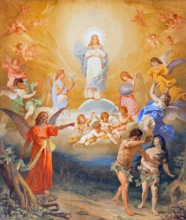 ローマ, イタリア - 2015 年 3 月 27 日: 教会のバシリカ ディのボルトにアダムとイブの楽園からの追放フレスコ 19 の終わりからヴィルジニオ モンティ 報道画像