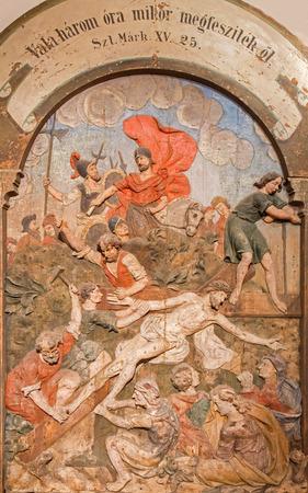 nailed: BANSKA STIAVNICA, SLOVAKIA - FEBRUARY 5, 2015: The jesus nailed to the cross as the part of baroque Calvary from years 1744 - 1751.