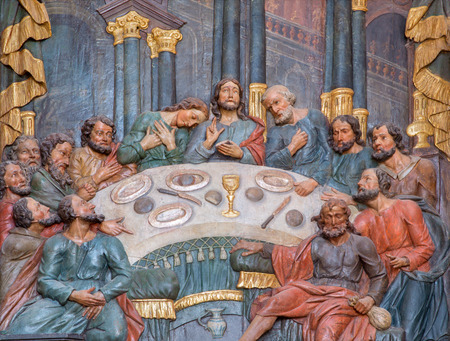 polychrome: BANSKA STIAVNICA, SLOVAKIA - FEBRUARY 20, 2015: The carved polychrome relief of Last supper in lower calvary church from 18. cent. by unknown artist.