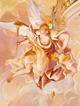 anton: BANSKA STIAVNICA, SLOVAKIA - FEBRUARY 20, 2015: The detail of fresco on cupola in the middle church of baroque calvary by Anton Schmidt from years 1745. Angel with the music instruments. Editorial