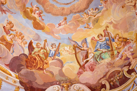 calvary: BANSKA STIAVNICA, SLOVAKIA - FEBRUARY 20, 2015: The detail of fresco on cupola in the middle church of baroque calvary by Anton Schmidt from years 1745. Angels with the music instruments.