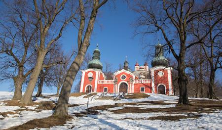 calvary: Banska Stiavnica - The lower church of baroque calvary built in years 1744 - 1751 in winter.