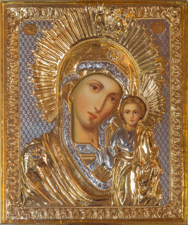 mother of jesus: JERUSALEM, ISRAEL - MARCH 5, 2015: The icon of Madonna in Russian orthodox Church of Holy Mary of Magdalene by unknown artist on the Mount of Olives.