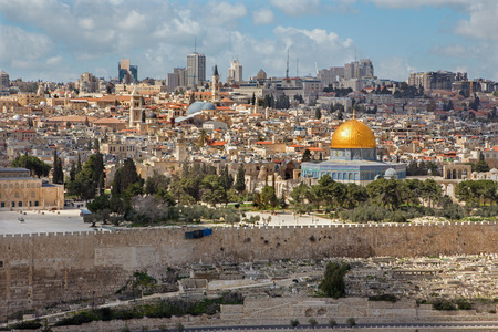 mount of olives: Jerusalem - Outlook from Mount of Olives to old city