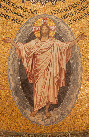 lutheran: JERUSALEM, ISRAEL - MARCH 3, 2015: The mosaic of resurrected Christ on ceiling of Evangelical Lutheran Church of Ascension designed by H. Schaper and F. Pfannschmidt (1988-1991) Editorial