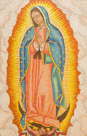 of our lady: JERUSALEM, ISRAEL - MARCH 3, 2015: The mosaic of Our Lady of Guadalupe in Dormition abbey by monk and artist Radbod Commandeur from the Benedictine Abbey of Maria Laach.