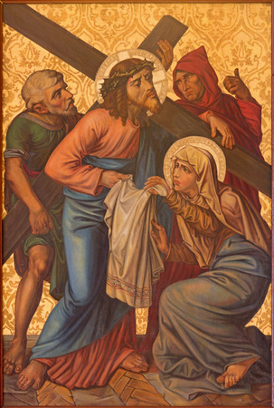 crucis: JERUSALEM, ISRAEL - MARCH 4, 2015: The paint Veronica wipes the face of Jesus. paint from end of 19. cent. by unknown artist as part of cross way cylce in Armenian Church Of Our Lady Of The Spasm.
