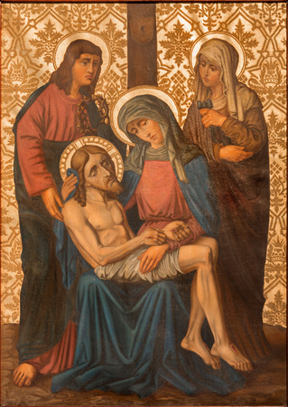 mary mother of jesus: JERUSALEM, ISRAEL - MARCH 4, 2015: The Pieta paint from end of 19. cent. by unknown artist as part of cross way cylce in Armenian Church Of Our Lady Of The Spasm.