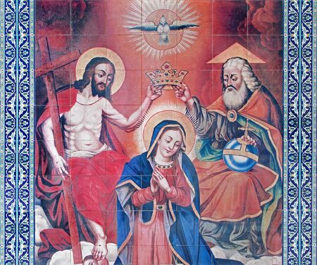 coronation: JERUSALEM, ISRAEL - MARCH 5, 2015: The tiled coronation of Virgin Mary in vestibule of St. James Armenian cathedral from end of 19. cent. as Epitaph at the tomb of Patriarch Abraham, since 1192.