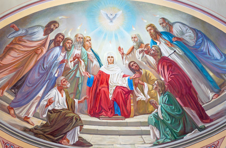 JERUSALEM, ISRAEL - MARCH 5 , 2015: The Pentecost scene. Fresco from 20. cent. in the side apse of Russian orthodox cathedral of Holy Trinity in the Russian Compound.