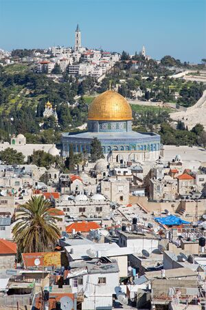 dom: Jerusalem - Outlook over the old town to Dom of Rock and Mount of Olives. Stock Photo