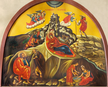 BETHLEHEM, ISRAEL - MARCH 6, 2015: The Icon of Nativity from The Nativity church from year 1975 by unknown artist.