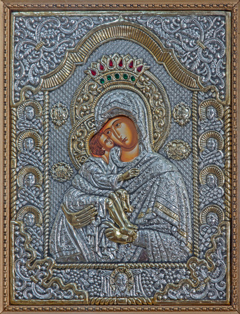 mother god: BETHLEHEM, ISRAEL - MARCH 6, 2015: The icon of Madonna in metal from 20.cent. in Syrian orthodox church.