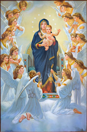 BETHLEHEM, ISRAEL - MARCH 6, 2015: The Madonna among angels from 20.cent. in Syrian orthodox church. Éditoriale