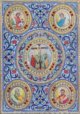 book binding: BETHLEHEM, ISRAEL - MARCH 6, 2015: The detail of the binding of liturgical book from 19. cent. in Syrian orthodox church.