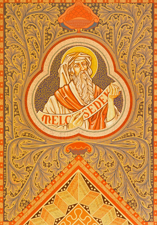 JERUSALEM, ISRAEL - MARCH 3, 2015: The high priest Melchzedek. Paint on the ceiling of Evangelical Lutheran Church of Ascension designed by H. Schaper and F. Pfannschmidt (1988-1991).
