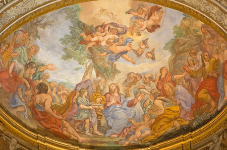 ROME, ITALY - MARCH 25, 2015: The fresco of The Miracle of Multiplication on the main apse of church  Basilica di Sant Andrea delle Fratte by Pasquale Marini from 18. cent..