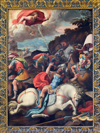 ROME, ITALY - MARCH 25, 2015: The Conversion of st. Paul painting of Marco da Siena (1545) in church Santo Spirito in Sassia. Editorial