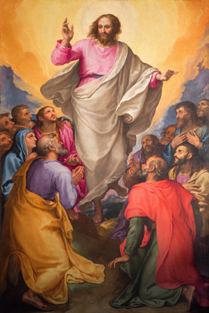 ROME, ITALY - MARCH 26, 2015: The Ascension of the Lord painting in church Chiesa Nuova by Gerolamo Muziano (1532 - 1592). 에디토리얼